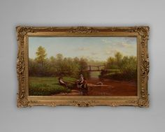 """No: 406L """"Children Fishing on a Summer Day"""" 1874 Oil on Canvas signed WILLIAM BROMLEY and dated 1874"""