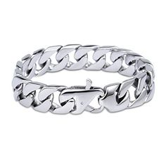 LEADCIN Men's Chain Bracelet 316L Stainless Steel Curb Link 15mm Width, Silver Color * Be sure to check out this awesome product affiliate link Amazon.com