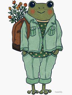 Frog - Casual ' Sticker by hwainio Art Drawings Sketches, Cute Drawings, Indie Drawings, Psychedelic Drawings, Animal Drawings, Plage Nail Art, Arte Indie, Frog Art, Arte Sketchbook