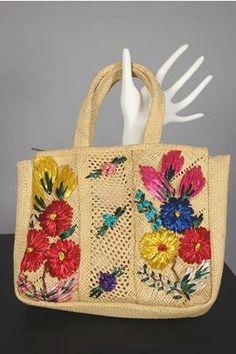 Raffia flowers 1950's-60's natural straw small purse P184