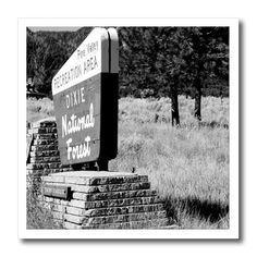 3dRose - Jos Fauxtographee Realistic - A Sign That says, Dixie National Forest In Pine Valley, Utah in Black and White
