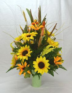 No.FC002 Fall Cemetery Arrangement. , Autumn Cone Flower, Cone Arrangement,Grave,   Tombstone arrangement,  Cemetery flowers by AFlowerAndMore on Etsy