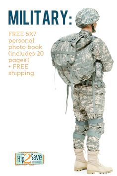 MILITARY GIFT IDEA -- Free 20 page personal photo book ships to any US military address FREE!! Perfect for deployed family members. http://hip2save.com/2013/02/19/military-free-5x7-personal-photo-book-includes-20-pages-free-shipping-4/