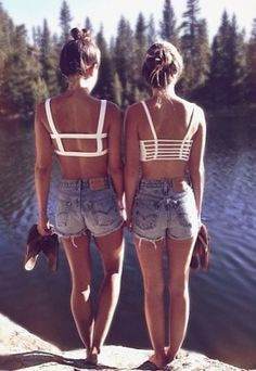 vintage cut-off shorts + caged cropped tops