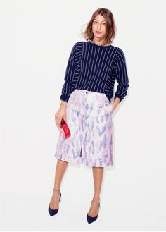 J.Crew women's Collection cashmere pinstripe sweater. To preorder call 800 261 7422 or email erica@jcrew.com.