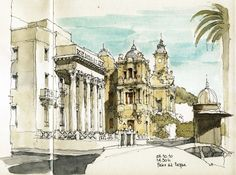 The building of Banco de España (central bank) on the left and the City Hall on the right of the drawing.  blogged here: www.urbansketchers.com/2010/10/city-in-autumn.html