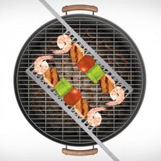 BBQ GrillComb - These really hold onto the food and makes for easy turning and grilling meat and veggies - no more flimsy wooden skewers! The centimeter thick end makes it easy to grab to turn, and you don't have to turn them 180 degrees, you just flip them so they are resting the opposite way!