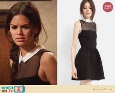 Zoe's black illusion dress with white collar on Hart of Dixie.  Outfit Details: http://wornontv.net/30126/ #HartofDixie