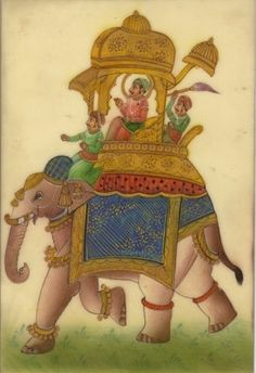 Rajasthan Indian Miniature Painting Maharaja Elephant