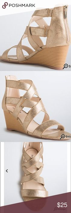 Torrid gold strappy mini wedge shoe 10W NWT Torrid mini wedge strappy gold shoe. Size 10W NWT torrid Shoes