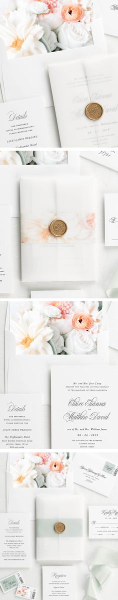 Pretty floral wedding invites with vellum jackets, wax seals, and belly bands.  Customize to make them your own and order online.
