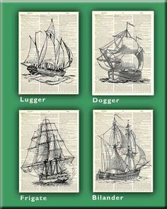 Sailboat  Prints Set of 4 prints vintage nautical by PrintLand, $28.00