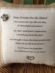 Pet Memorial Pillow Paw Prints On My Heart Poem by WoofAndCompany