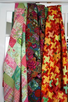 Hanging quilts.