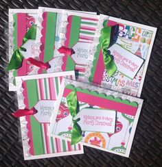 A personal favorite from my Etsy shop https://www.etsy.com/listing/244342901/cute-handmade-christmas-cards-pink-green