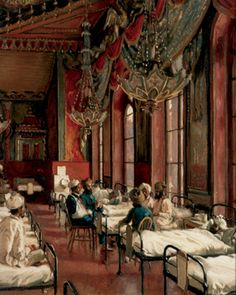 Charles Burleigh: The Music Room as a hospital for Indian Soldiers 1914-15. Royal Pavilion, Brighton.