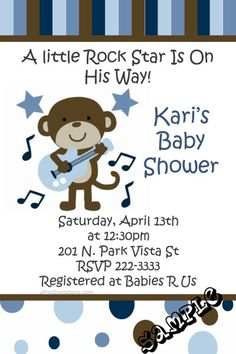 Monkey Rock Star Baby Shower Invitations  -  Get these invitations RIGHT NOW. Design yourself online, download and print IMMEDIATELY! Or choose my printing services. No software download is required. Free to try!
