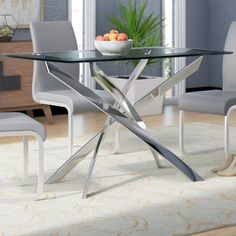 Coraline Glass Top Modern Dining Table by Wade Logan – BabyPoring Shop Narrow Dining Tables, Glass Round Dining Table, Counter Height Dining Table, Glass Top Coffee Table, Dining Table Design, Modern Dining Table, Extendable Dining Table, Dining Table In Kitchen, Dining Table Chairs