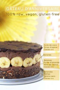 """Gâteau d'anniversaire cru vegan """"Raw vegan birthday cake"""" gluten-free (may need to use online French translator) Gluten Free Birthday Cake, Vegan Birthday Cake, Healthy Birthday, Birthday Recipes, Happy Birthday, Köstliche Desserts, Delicious Desserts, Dessert Recipes, Dessert Healthy"""