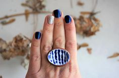 Womens Ring Ceramic Ring  Blue and White Keramik Schmuck