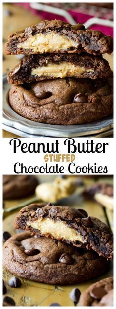 Rich chocolate cookies stuffed with a peanut butter surprise! These peanut butter stuffed chocolate cookies are a decadent peanut butter chocolate treat! Homemade Peanut Butter Cookies, Classic Peanut Butter Cookies, Peanut Butter Filling, Chocolate Peanut Butter Cookies, Peanut Butter Desserts, Healthy Peanut Butter, Peanut Cookies, Brownie Cookies, Chocolate Chips