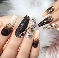 73 Trending Acrylic Coffin Nails To Inspire You Acrylic Coffin nail is the most on-trend shape these years. This long and tapered shape extends beyond the end of the finger and comes to a narrow, squared-off tip said to resemble coffins or ballerin. Glam Nails, Hot Nails, Fancy Nails, Bling Nails, Hair And Nails, Fabulous Nails, Gorgeous Nails, Pretty Nails, Luxury Nails