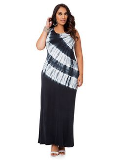 A tie-dyed dress from Ashley Stewart. White wedge heels and white and silver jewelry accents are good way to go. Curvy Girl Fashion, Plus Size Fashion, Ladies Fashion, Short Dresses, Dresses For Work, Modest Skirts, Full Figure Fashion, Tie Dye Dress, Plus Size Beauty