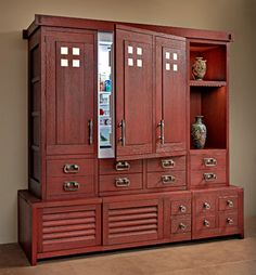 Tansu – asiatique – cuisine – autre métro – Quality Custom Cabinetry, Inc Tall Cabinet Storage, Locker Storage, Asian Inspired Decor, Design Your Kitchen, Kitchen Designs, Kitchen Pantry Cabinets, Asian Kitchen, Secret Compartment, Custom Cabinetry