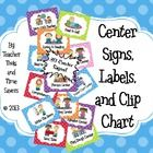Center Signs, Labels, and Clip Chart By Teacher Tools and  Time  Savers © 2013 Adorable!!   Use as signs to label centers or make a clip chart to organize which students go to each center! This is great!!!