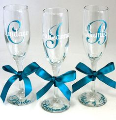 personalized toasting glasses | Personalized Champagne Flutes (Glitter and Non Glitter Available ...