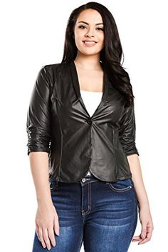 "Product review for Bubble B Women's Plus Size Faux Leather Jacket 3/4 Sleeve Blazer.  - Women's faux leather waist/hip length blazer with 3/4 length ruched sleeves and single front button closure. Available in sizes 1X, 2X and 3X (junior plus). Approximate measurements: Junior Plus 1X – Bust-40"" Length-23.5"" Sleeve-17.5"" Junior Plus 2X –..."