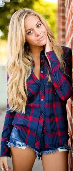 Plaid Shirt & jean shorts