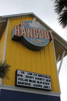 The Hangout! A must-visit spot for your next vacation. Live music nightly, with a breakfast through late-night menu. Located where Hwy. 59 meets the beach in Gulf Shores, Alabama.