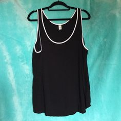 Old Navy Tank Simple black with white trim Old Navy tank, great for layering or wearing alone. Old Navy Tops