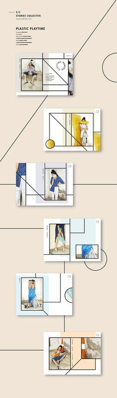 Plastic playtime // Stories Collective on Behance 사선과 원을 활용, 창 안에 새로운 창을 만들어 전면 컷과 확대 컷 동시 제공: