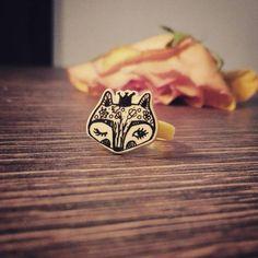Baby fox princess - handmade original cute ring for children & heart silver stud earrings /rings for kids /gift for kids /girls ring by FoxyFoxShop on Etsy