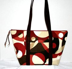 Purse in Geometric Brown Tones Sienna Red and by sheliawinstead, $26.00