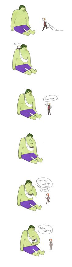 Hulk and Hawkeye cause this just made me happy on levels i didnt know humans could experience
