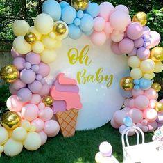 Balloon Garland, Balloon Decorations, Birthday Party Decorations, Pastel Party Decorations, Girl Birthday Themes, Happy Birthday Parties, Festa Moana Baby, Ice Cream Theme, Colorful Party