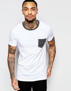 Imagen 1 de Camiseta ajustada con ribetes y bolsillo en contraste de ASOS
