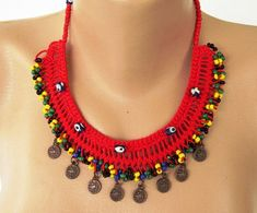 Bright Red Macrame Choker Necklace with Evil Eye Acrylic Beads and Yellow - Black - Green - Dark Blue Seed Beads, brown coins on the edge Macrame Jewelry, Fabric Jewelry, Macrame Necklace, Lace Necklace, Jewelry Crafts, Handmade Jewelry, Crochet Necklace Pattern, Tribal Earrings, Quartz Necklace