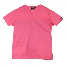 Dickies Unisex Scrub top in Shocking Pink. The Dickies Unisex Scrub top offers a generous fit, making it super comfy to wear. The neckline is a flattering v-neck and there are two roomy pockets at the front of the scrub top for all your belongings. This scrub top is made of a 65% polyester and 35% hard wearing cotton mix. £17  #nursescrubs #dentistuniform #nurses #dentists #pinkscrubs