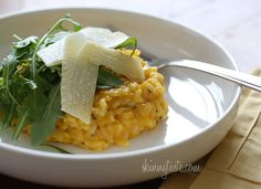 Butternut Squash Risotto - You can use any leftovers for some Spaghetti with Creamy Butternut Leek Pasta later in the week.