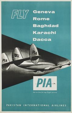 1955 Fly Pakistan International Airlines vintage travel poster