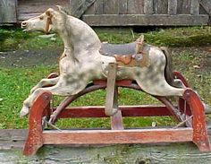 Antique 19th Century Carved Wood Painted Childs Rocking Horse Toy | eBay