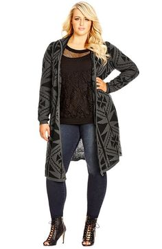 City Chic Geo Print Longline Hooded Cardigan (Plus Size)  30fe4dd76
