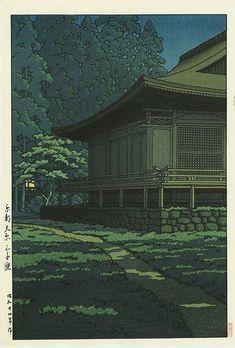Hasui Kawase détail - Clair de lune au sanctuaire Sanzenin, Kyoto 1949