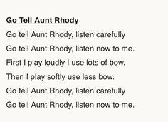 Lyrics To Go Tell Aunt Rhody Suzuki