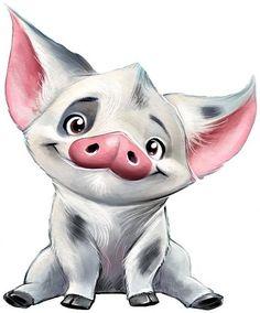 PUA The Pig Cross Stitch Pattern PDF, Embroidery Chart Cute Nursery Decor, Moana . Moana Disney, Disney Art, Disney Cartoons, Simple Art Designs, Pig Drawing, Drawing Step, Moana Drawing, Pig Art, Nature Drawing