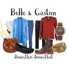 """Belle & Gaston"" by disneythis-disneythat on Polyvore (I totally want to wear this couple set with my other half!)"